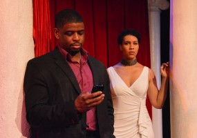 Medea (Leontyne Mbele-Mbong) and Jason (Khary Moye) in African-American Shakespeare Company's Medea opens March 8th and runs until March 30th