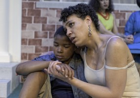 Caden Cotton-Blake (son of Jason and Medea); and Leontyne Mbele-Mbong (Medea). Medea comforts her one of her sons as she contemplates the ultimate demise
