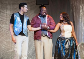 King Alsonso ( J. Darryl Williams) is happy to unite his only son, Ferdinand (Drew Watkins), with Miranda (Tavia Percia) African-American Shakespeare Company's The Tempest Photo Credit: Lance Huntley