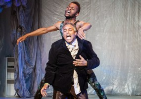 Caliban (Michael Wayne Turner) confronts Prospero (Michael Gene Sullivan) for treating him like a slave. African-American Shakespeare Company's The Tempest Photo Credit: Lance Huntley
