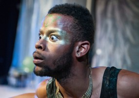 Caliban (Michael Wayne Turner) is native of this island filled debris. African-American Shakespeare Company's The Tempest Photo Credit: Lance Huntley