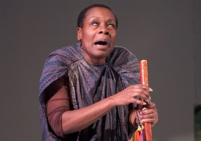 Old Blind Woman (Awele Makeba) is the oracle to the future of events in Nambi E. Kelley's Xtigone. Photo Credit: Lance Huntley
