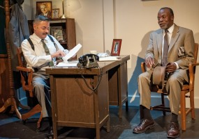 Hoke (L. Peter Callender) interviews with Daisy's son, Boolie (Timothy Beagley) for the job as Miss Daisy's chauffeur.