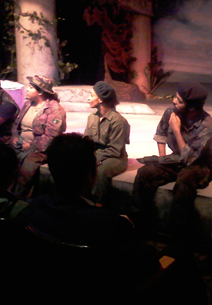 Actors answering questions after a matinee show