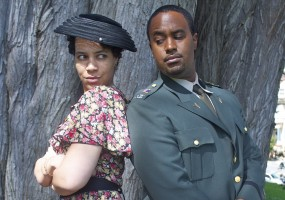 """""""Thou and I are too wise to woo peaceably.""""  Beatrice (Leontyne Mbele-Mbong) and Benedick (Ryan Vincent Anderson) call a truce in their battle of wits"""