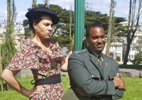 """""""For man is a giddy thing, and this is my conclusion.""""  Beatrice (Leontyne Mbele-Mbong) and Benedick (Ryan Vincent Anderson) duel in Shakespeare's Much Ado About Nothing"""
