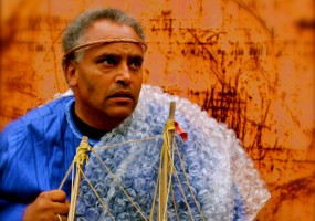 "Michael Gene Sullivan as Prospero, ""by providence divine"", prepares for the arrival of his enemies. African-American Shakespeare Company The Tempest, October 18 through November 9 Photo Credit: L. Peter Callender"