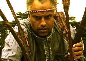 "Michael Gene Sullivan as Prospero, ""by providence divine"", prepares for the arrival of his enemies. African-American Shakespeare Company The Tempest, October 18 through November 9 Photo Credit: Leontyne Mbele-Mbong"