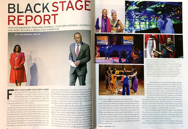 American Theatre Magazine | March 2019 Issue | 'Black Theatres in the U.S.: Building, Surviving, Thriving' by Kelundra Smith